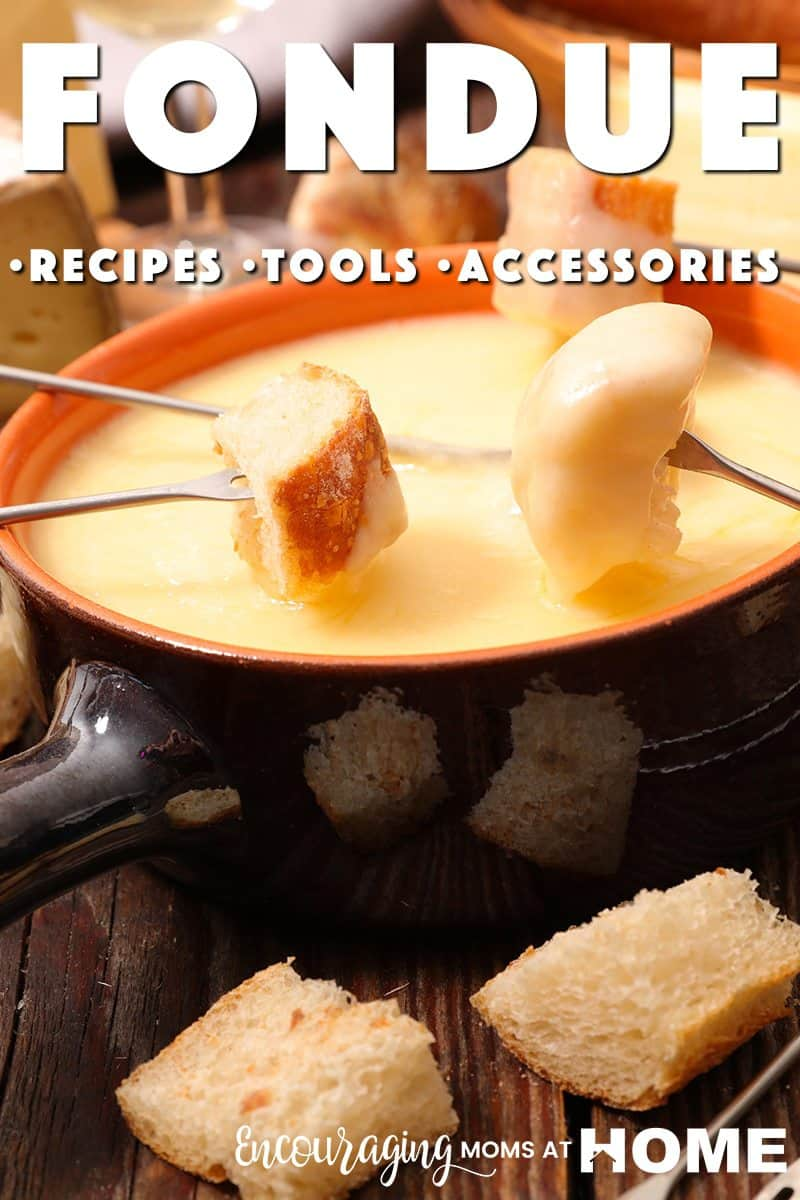 Want a fun alternative for dinner?  Try fondue for a fun family activity.  Try out some of the recipes provided for cheese, dessert, and meat fondue.