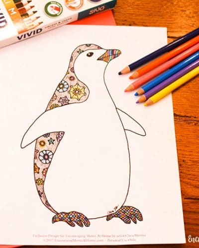 Free printable penguin coloring page