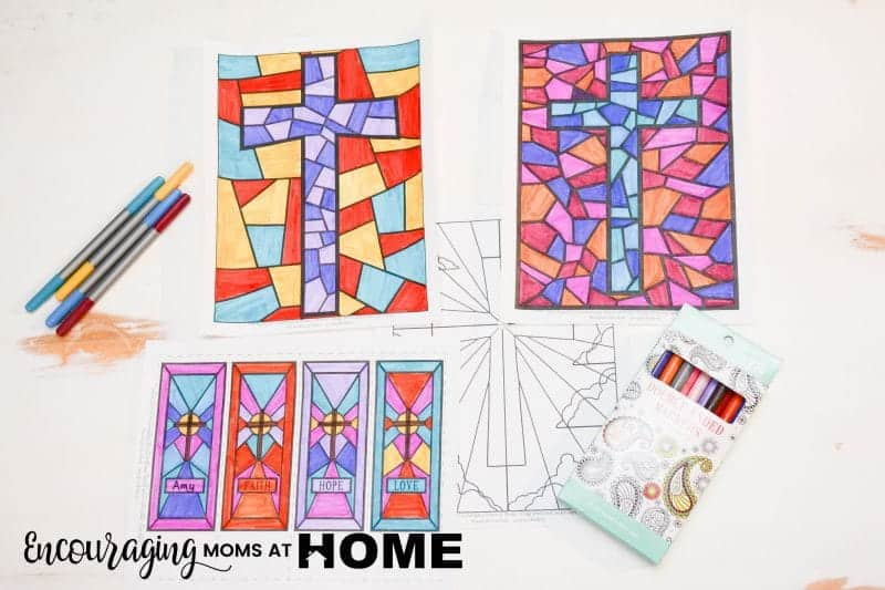 Free Stained Glass Coloring Pages And Bookmarks For Easter