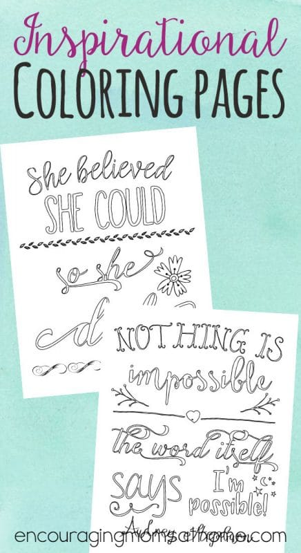 Need a little relaxation?  Grab a cup of coffee and color these two free inspirational adult coloring pages with quotes from Audrey Hepburn and R.S. Grey!