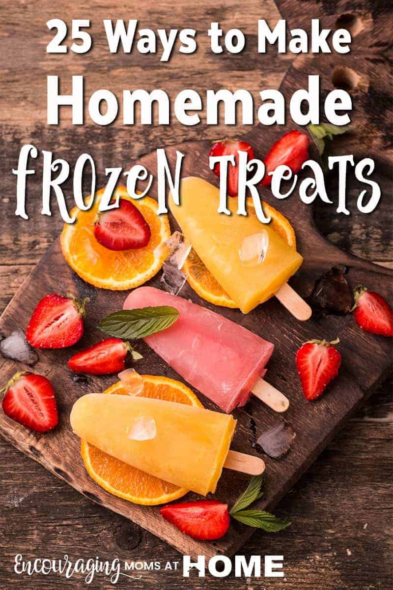 Looking for a way to beat the summer heat and still treat your kids?  Here is a great list of delicious homemade frozen treats that you and your kids will enjoy.