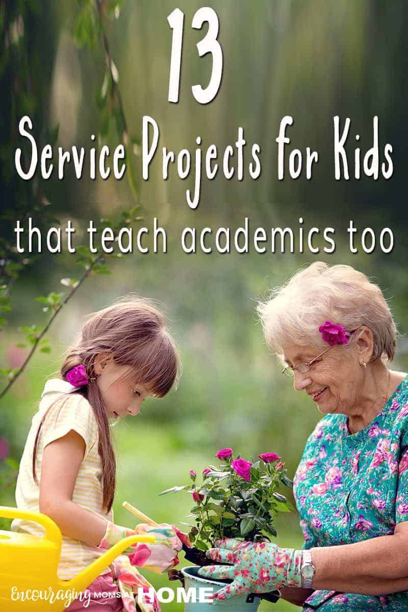 Teaching our kids to love others should be high on our list. And teaching them to act on that love will make a difference in their lives and the lives of others. More than that, did you know that our kids can learn social and emotional health through service projects?  AND they can improve on their academic skills too. Take a look at 13 service projects that teach academic skills while serving others.