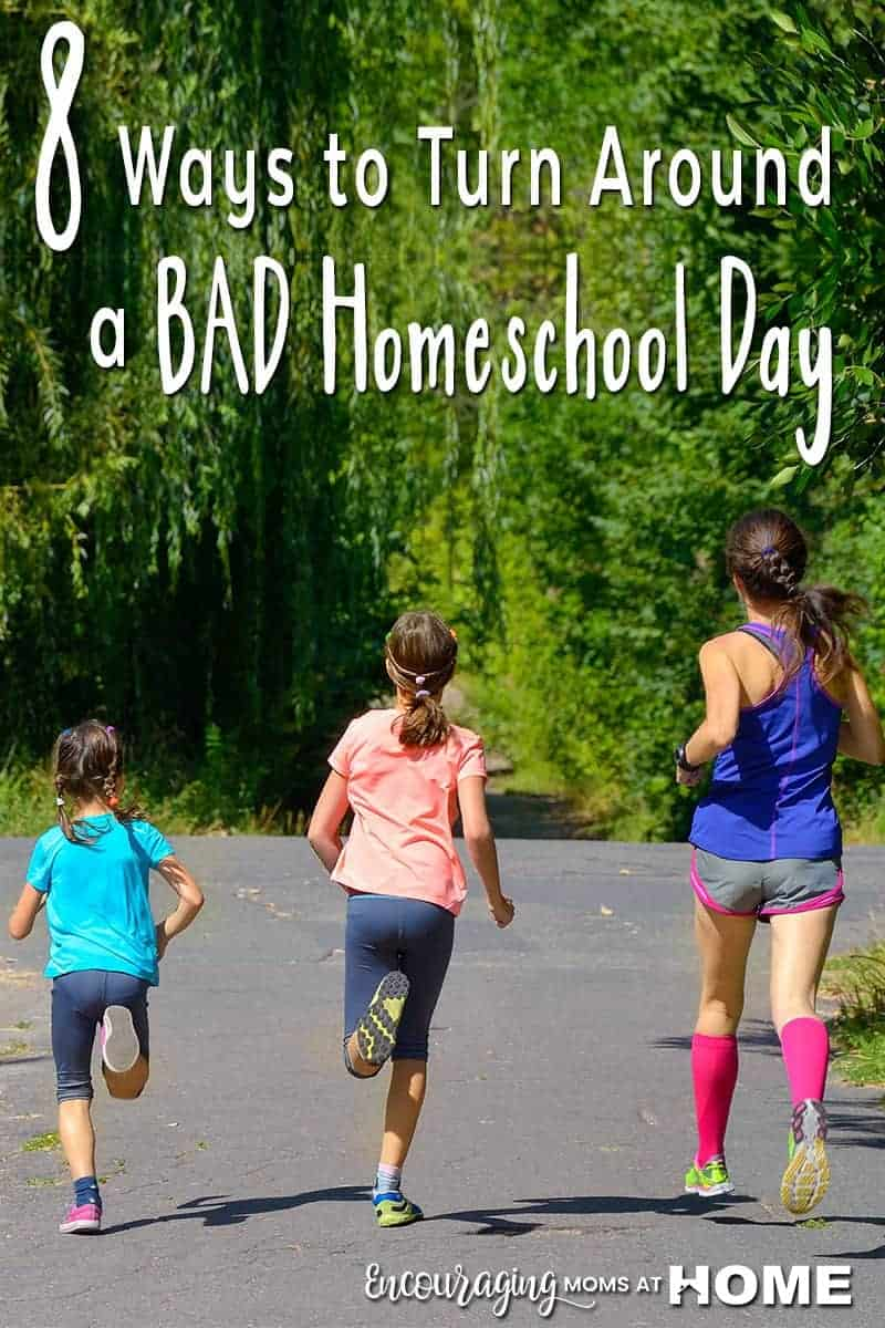 Do your homeschool days always go exactly as planned? Most never do. And some are just plain horrible. You can turn them around! Here are 8 simple tips to help you turn your day around and ultimately help you have fewer less than ideal days.