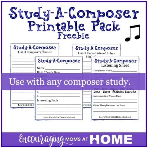 Study A Composer Printable Pack Freebie with four pages to teach music in homeschool
