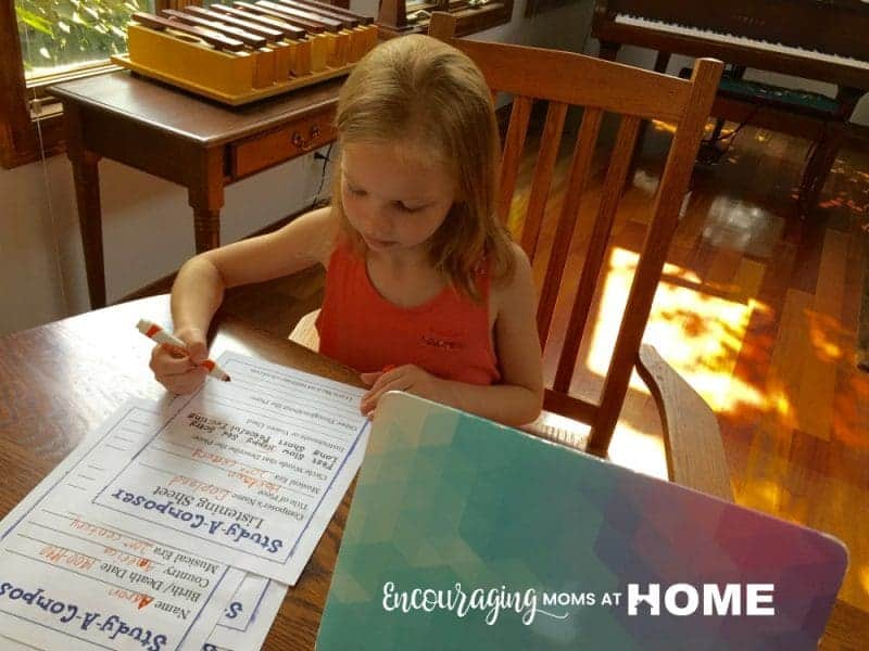 Teach Music in Homeschool Using the Study-A-Composer Printable Pack freebie. 3 Simple Ways a Non-Musical Mom can Teach Music in her Homeschool. Encouraging Moms at Home.