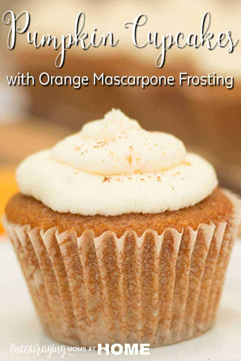 Pumpkin Cupcakes with Orange Mascarpone Frosting