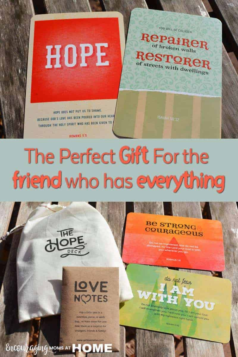 If you are looking for a gift for the friend that has everything, try the Hope Deck. Packaged in a pretty cotton bag, there are 30 cards containing real encouragement made by a real person for the real and hurting people in your own lives.