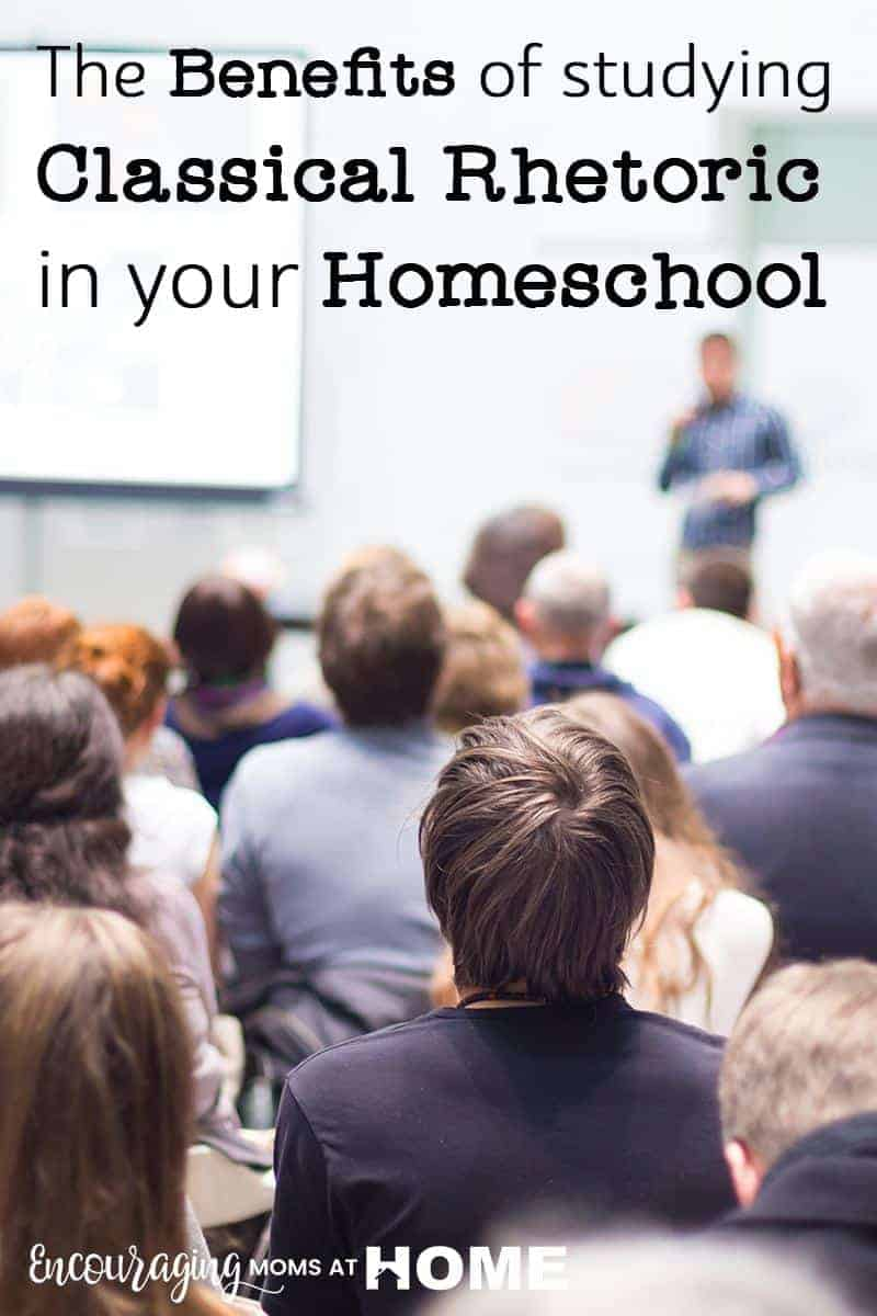Teaching classical rhetoric in your homeschool will give your kids a foundation in skills such as public speaking, professional meetings, and even communication with their own kids down the road. Take a look at a few benefits to teaching rhetoric that will help your homeschooler now and in the future. #homeschool #communicationskills