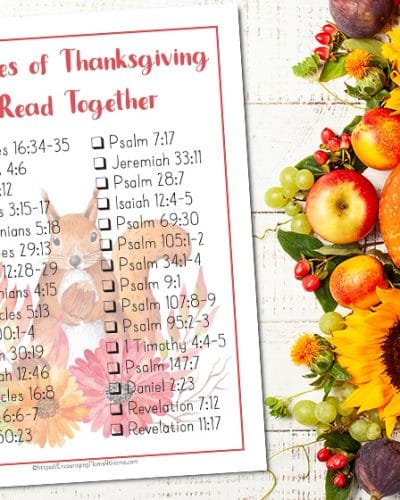Free Printable Checklist of 30 Beautiful Bible Verses to Read for Thanksgiving